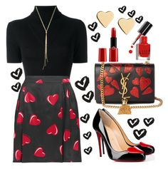 """Hearts ❤️️"" by ellenfischerbeauty ❤ liked on Polyvore featuring Christian Louboutin, Yves Saint Laurent, P.A.R.O.S.H., Love Moschino, Lipsy, Bobbi Brown Cosmetics and Armani Beauty"