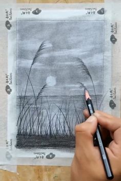 Art Drawings Beautiful, Art Drawings Sketches Simple, Pencil Art Drawings, Pencil Drawings For Beginners, Scenery Drawing Pencil, Scenery Drawing For Kids, Drawing Sunset, Art Painting Gallery, Oil Pastel Art