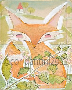 a whimsical watercolor painting of a fox - 8x10 archival limited edition print by cori dantini. $20.00, via Etsy.