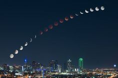 """Looking Up"" by Mike Mezeul II  After spending 5 hours on a rooftop with an incredible view of Dallas, I was able to create this composite image showing the moons transition from full moon, to full lunar eclipse, and back. Each moon image was shot approximately 10 minutes apart to capture the entire transition. I hope you all enjoy! Please share! Prints available, link in image comments! Shot on a Nikon D810 #Nikon"