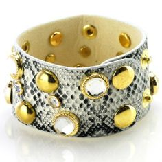 "Snake Leather Band Bracelet with Clear Rhinestones and Brass Absolute Accessory. $24.95. rhinestone bracelet. adjustable bracelet. leather bracelet. 8.5"" long. approx 1.5"" wide"