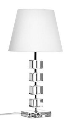 Bordslampa Glasklart, vacker silverfärgad lampfot med