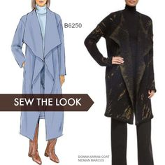 Sew the Look: Blanket coats are easy to sew and wear. This is Butterick sewing pattern. Butterick Sewing Pattern Misses' Shawl Collar Jacket, Coat and Snap Closure Wraps Tunic Sewing Patterns, Dress Making Patterns, Coat Patterns, Clothing Patterns, Sewing Clothes, Diy Clothes, Blanket Coat, Make Your Own Clothes, Vogue