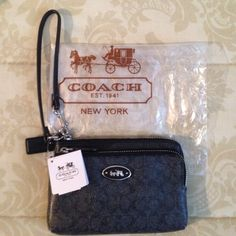 NWT Coach L-Zip Wristlet in Signature NWT Coach L-Zip Wristlet in signature coated canvas with leather trim. Wristlet has 2 zippered compartments - the main compartment has 2 credit card pockets. Fabric lining. Will fit an IPhone or Android. Coach Bags Clutches & Wristlets