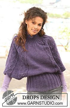 "Ravelry: 126-30 Knitted poncho / top with rib and lace pattern in ""Alaska"" pattern by DROPS design"