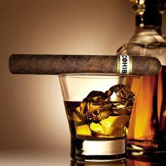Cohiba cigar and Scotch on the rocks
