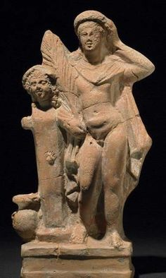Terracotta Hermes figure - youth appears to be shown as victorious athlete, from Myrina, 1st century BC, at at the British Museum