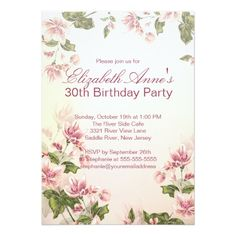 Vintage Pink Flowers Floral Birthday Party Card Free Printable Invitations Personalized Bridal