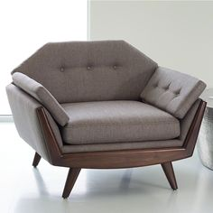 Ginger Curtis, @UrbanDesign101 - Studio A Home, Greta Lounge Chair - Mid-century meets classic in this gorgeous lounge chair, complete with unlimited fabric options! Find Studio A Home, a Global Views Company, in IHFC D232 at Fall High Point Market. #DesignOnHPMkt #HPMKT #DesignerFinds