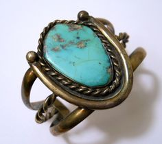 Vintage Turquoise Sterling Silver Cuff Bracelet with Rope Trim