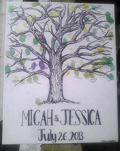 Wedding Registry Tree // Family Tree // thumbprint leaves // black and white // 16x20 canvas // MADE TO ORDER