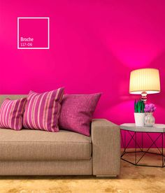 Ideas Pink Accent Wall Living Room Paint Colors For 2019 Magenta Walls, Pink Accent Walls, Pink Bedroom Walls, Accent Walls In Living Room, Living Room Paint, Pink Walls, Room Wall Colors, Living Room Decor Colors, Hot Pink Room