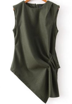 Green Round Neck Sleeveless Asymmetrical Blouse -SheIn(Sheinside)