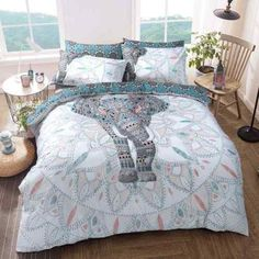 We are proud to announce our latest addition of Elephant Mandala Duvet Set from our Fashion Range of Bed Linen. Single Set Duvet Cover 1 x pillowcase Washing Instructions: The duvet cover set is machine washable at Elephant Bedding, Teal Bedding, Duvet Bedding Sets, Quilt Bedding, White Bedding, Elephant Duvet Cover, Elephant Print, Double Duvet Covers, Single Duvet Cover
