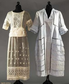 TWO AFTERNOON DRESSES, EARLY 1920s 1 light blue linen robe de style, Van Dyke points & faggoted bands w/ embroidery & eyelet bands, silk brocade sash
