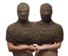"""Double-busted"", knitted human hair.... doesn't get much cozier than a cozy out or your owns hair! But they forgots the bottomses."