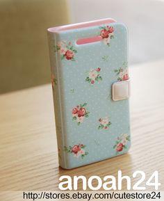 Picnic(Sky Blue)HAPPYMORI Korean cute diary flip case cover for iPhone4, 4S_AU