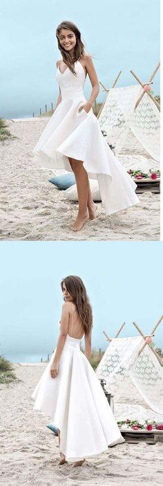 A Line Prom Dresses,Charming Wedding Dresses,V Neck Homecoming Dresses,High Low Wedding Dresses,White Wedding Dresses,Short Homecoming Dresses #shortpromdresses