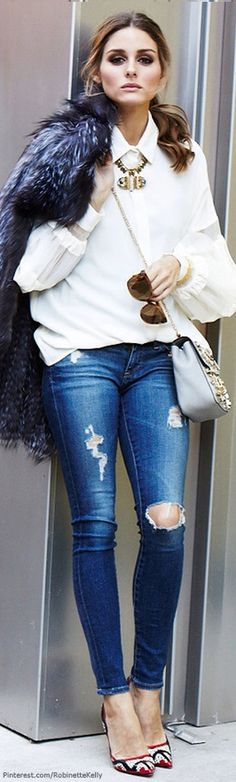 Awesome city chic style by #oliviapalermo Ripped jeans, white shirt, fur, high heels, and statement accessories.