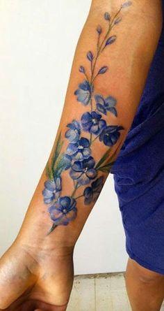 Watercolor Flower Forearm Tattoo Ideas for Women -  ideas de tatuaje de antebrazo acuarela flor - www.MyBodiArt.com #armtattoosforwomen