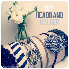 Headband holder (made with a roll of paper towels)