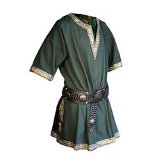Adult Men Medieval Knight Warrior Costume Green Tunic Clothing Norman Chevalier Braid Viking Pirate Saxon LARP Top Shirt For Men Moda Medieval, Medieval Tunic, Viking Tunic, Medieval Costume, Medieval Knight, Medieval Clothing Men, Medieval Fashion, Celtic Clothing, Steampunk Clothing