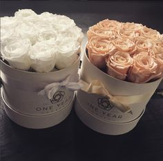 These make beautiful centre pieces at a wedding and also the guests can take them home after. They last a year so make a lovely gift to give your guests. Box Center, Preserved Roses, White Box, Centre Pieces, Flower Ideas, 1 Year, Bridesmaids, Wedding Flowers, Gifts