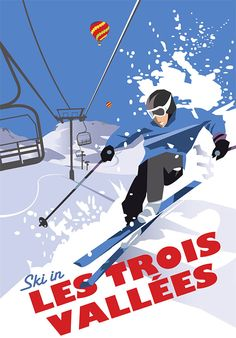 This Les Trois Vallees Art Print is created using state of the art, industry leading Digital printers. The result - a stunning reproduction at an affordable price. A stunning Art Print featuring the design of a person skiing in Les Trois Vallees, France. Ski Vintage, Vintage Ski Posters, Art Deco Posters, Look Vintage, Portsmouth, Zine, Art Deco Movement, Snow Skiing, State Art
