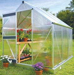 Juliana Greenhouse Basic 300 w/ Base by Juliana Greenhouses. $490.79. 2' wide sliding door with rollers. 4mm, double wall unbreakable polycarbonate panels with UV coating to prevent break down over time. 1 roof vent window. Aluminum frame construction wit