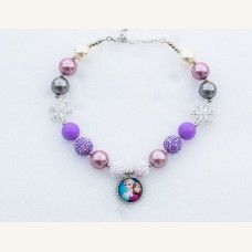 Girls Chunky Lavender Lilac FROZEN Elsa Anna Bubblegum Necklace, Bubble Gum chunky girls necklace, Chunky Bead Necklace