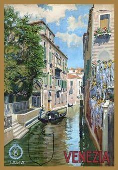 "TR4 Vintage Italian Venice Venezia Italy Travel Poster Re-Print - A4 (297 x 210mm) 11.7"" x 8.3"""