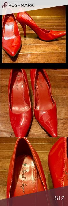 Sarah Jayne red patent leather heels size 8 Sarah Jayne purchased from Shi by Journeys 3.75 inch red patent leather heels with minor scuffs. Gently used, good condition. Sarah Jayne Shoes Heels