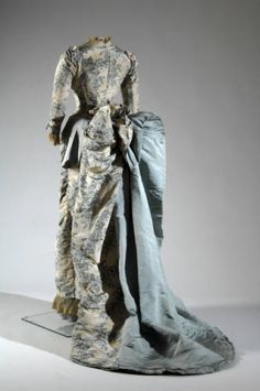 Evening dress, 1883. Printed silk moiré, faille, lace. Charles Frédérick Worth, France. Gift of Gift of Mrs. Kent Chandler. 1980.256.3a-b Dress :: Museum Collection