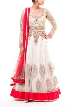 Off white anarkali with a fully embroidered yoke and gotta pati motives paired with a coral colored dupata with kasab borders