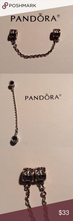 Pandora daisies safety chain Authentic PANDORA daisies safety chain. Fits any size Pandora bracelet. Great condition! Keeps charms safe on the bracelet and looks beautiful! Pandora Jewelry Bracelets