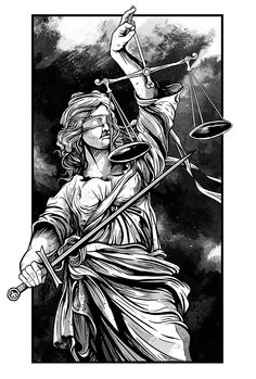 Justice on Behance Justitia Tattoo, Face Stencils, Libra Tattoo, Statue Tattoo, Lady Justice, Protest Posters, Tattoo Project, Psychedelic Art, Black And Grey Tattoos