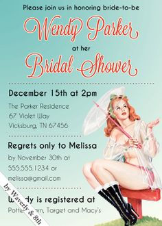 DIY Printable Bridal Lingerie Shower Invite (Printing services available)