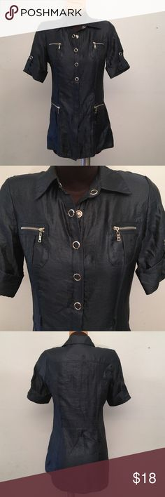 BOGO SALE! Forever 21 top Navy blue with a metallic shine to it. Excellent condition. Does not have string to tie around the waist. Snap buttons. All the zippers are real pockets! Silver hardware. 60% Rayon, 40% Nylon Forever 21 Tops