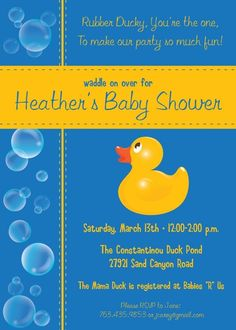 5x7 Polka Dot Rubber Ducky Baby Shower Invitation Rubber ducky