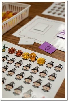 Download a series of Halloween themed game boards for practicing counting and one-to-one correspondence.