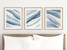 Bedroom Wall Decor Over the Bed, 3 Piece Wall Art Prints, Watercolour Abstract Painting Print Set of Three, Zen Wall Art in Blue Gray Cream