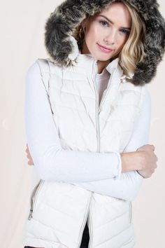 White Puffer Vest with Detachable Fur Hood – Melissa Jean Boutique White Puffer Vest, Pearl White, Fur, Pearls, Boutique, Hoodies, Tops, Women, Fashion
