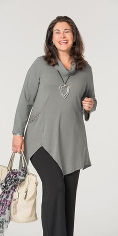 Kasbah dark grey jersey pocket cowl neck top