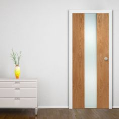 Zaragosa Oak Veneer Door with Frosted Safety Glass and all Pre-finished, modern styling by any standard. The Doors, Entrance Doors, Contemporary Doors, Contemporary Design, Veneer Door, Safe Glass, Door Sets, Internal Doors, Apartment Interior