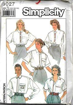 Simplicity 9027 Misses Shirt Pattern, Size 10-14, UNCUT by DawnsDesignBoutique on Etsy