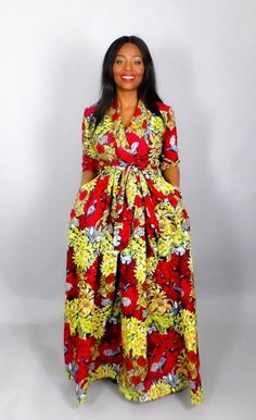 Trendy Evening Dresses: Red African Printed Maxi Dress in Handmade Since Long African Dresses, Latest African Fashion Dresses, African Print Dresses, African Lace, Ankara Dress Styles, Kente Styles, African American Fashion, African Traditional Dresses, African Attire
