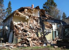 Residential Demolition Service B & B Demolition Ltd in Edmonton, AB Mining Equipment, Heavy Equipment, Post Apocalyptic, Natural Disasters, B & B, Ghosts, House Styles, Building, Board