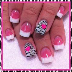 Pink, white, black, more like a zebra