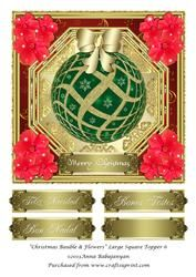 Christmas Bauble & Flowers Large Square Topper 6