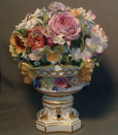 Large Early 19th century English Regency Derby Porcelain Floral Trophy Centerpiece